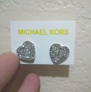 Silver MK Fashion Heart Studs
